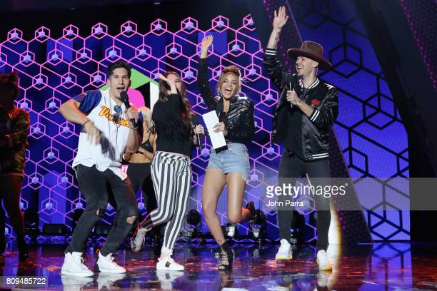 Chino Joy Leslie Grace and Jesse rehearse on stage during Univision's 'Premios Juventud' 2017 Celebrates The Hottest Musical Artists And Young...