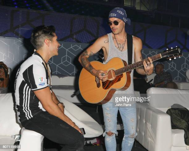 Chino Miranda and Jesse from Jesse and Joy are seen during rehearsal at Univision's 'Premios Juventud' 2017 Celebrates The Hottest Musical Artists...