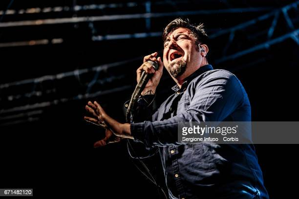 Chino Moreno of American alternative metal band Deftones performs on stage on April 21 2017 in Milan Italy