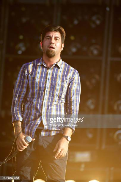 Chino Moreno of Deftones perform on stage on the second day of Download Festival at Donington Park on June 12 2010 in Castle Donington England