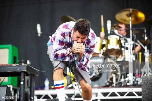 Chino Moreno of Deftones performs on stage on the last day of Leeds Festival at Bramham Park on August 30 2009 in Leeds England