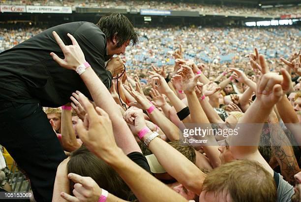 Chino Moreno of the Deftones during Summer Sanitarium 2003 Tour Opener in Detroit at Pontiac Silverdome in Detroit Michigan United States