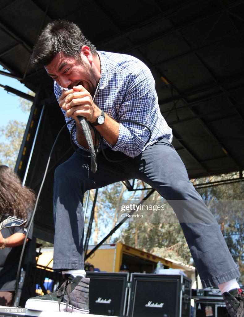 Chino Moreno of The Deftones performs at the Verizon Wireless Amphitheatre on June 5, 2010 in Laguna Hills, California.