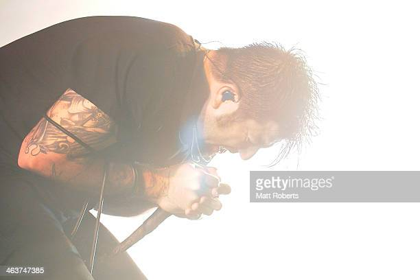 Chino Moreno of The Deftones performs live for fans during the 2014 Big Day Out Festival at Metricon Stadium on January 19 2014 on the Gold Coast...