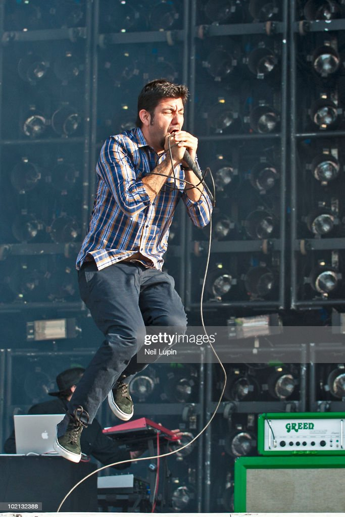 Chino Moreno of the Deftones performs on stage on the second day of the Download Festival at Donington Park on June 12, 2010 in Castle Donington, England.