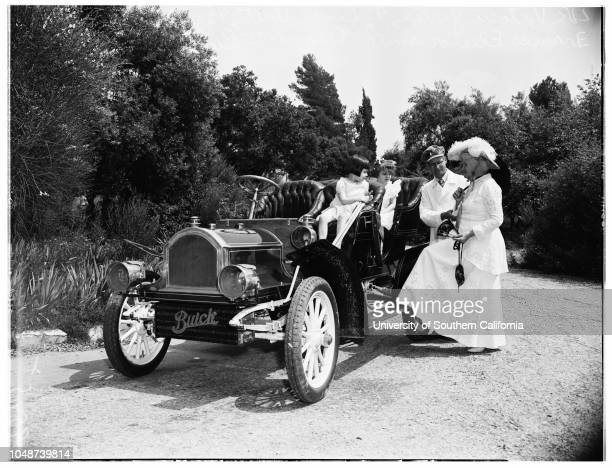 Chino old cars picnic 20 April 1952 1905 Cadillac Walter FifeKenneth Taylor 8 yearsJean Ruth 4 yearsClare Duncan 6 yearsMr and Mrs John Carra