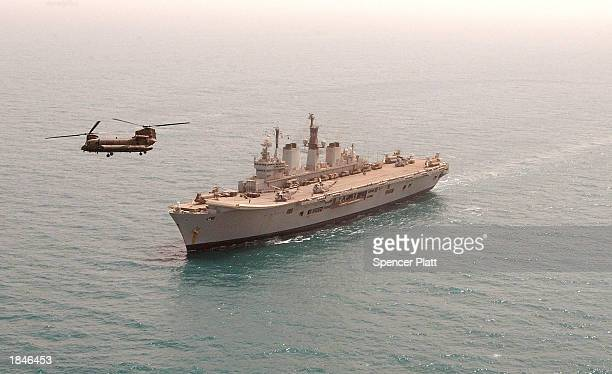 Chinoock helicopter takes off from the HMS Ark Royal March 13 2003 in the Persian Gulf The Ark Royal a British ship that is part of the Amphibious...