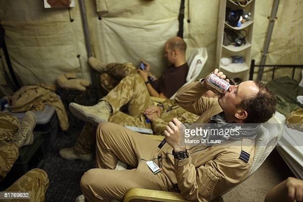 Chinook 27th Squadron Royal Air Force pilot part of the Joint Helicopter Force rests in between missions on June 29 2008 in Camp Bastion Helmand...