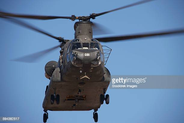 CH-47 Chinook flies over the Playas Training Area, New Mexico during exercise Angel Thunder 2013.