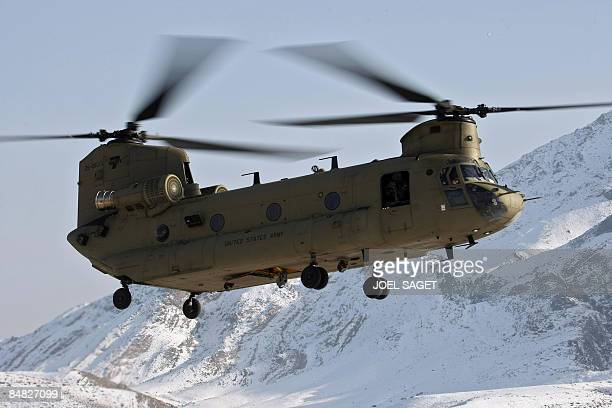 Chinook helicopter flies into FOB MoralesFrazier in Nijrab on February 17 2009 The deterioration in security in Afghanistan has alarmed its Western...