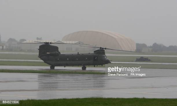 Chinook helicopter lands at the Launch of Royal International Air Tattoo at RAF Fairford Gloustershire