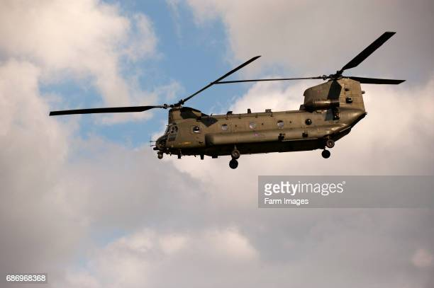 RAF Chinook helicopter on training exercise over British countryside