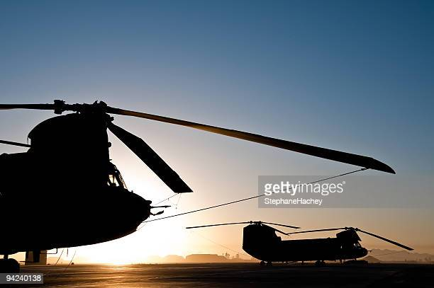 Chinook Helicopter Silhouette Sunrise