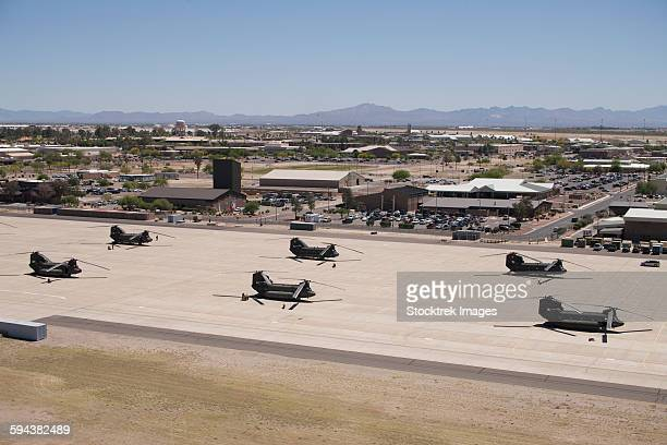 CH-47 Chinook helicopters on the flight line at Davis-Monthan Air Base.