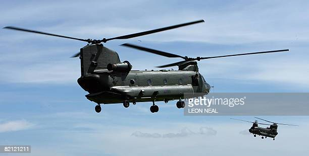 Chinook helicopters take part in a mission rehearsal exercise by the 3 Commando Brigade on Salisbury Plains Wiltshire southern England ahead of their...