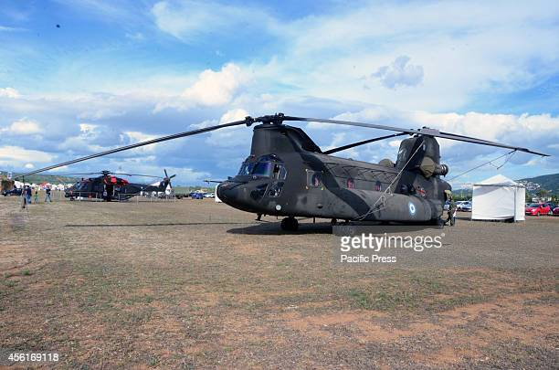 Chinook military transport helicopter belonging to Hellenic Army Aviation was exhibited at the military airport of Tatoi during the Athens Flying...