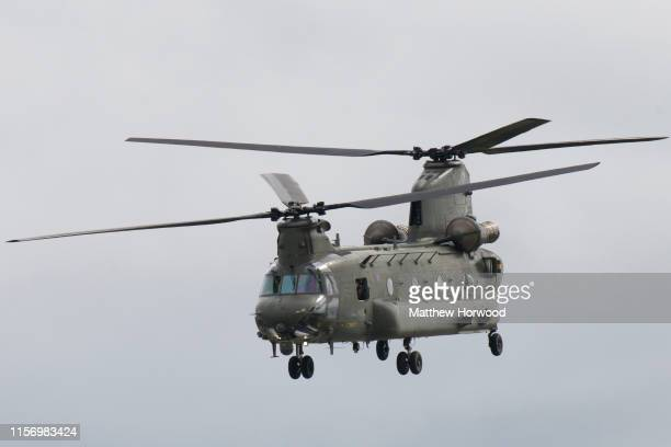 Chinook performs during the the International Air Tattoo at RAF Fairford on July 21 2019 in Fairford England The Royal International Air Tattoo is...