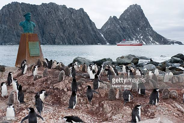 Chinstrap penguins (Pygoscelis Antarctica) Surrounding the Bust of Captain Luis Alberto Pardo with the M/S Explorer in the Background