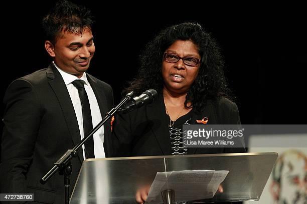 Chinthu Sukumaran and mother Raji Sukumaran speak of Myuran Sukumaran during a funeral service at Dayspring Church Castle Hill on May 9 2015 in...