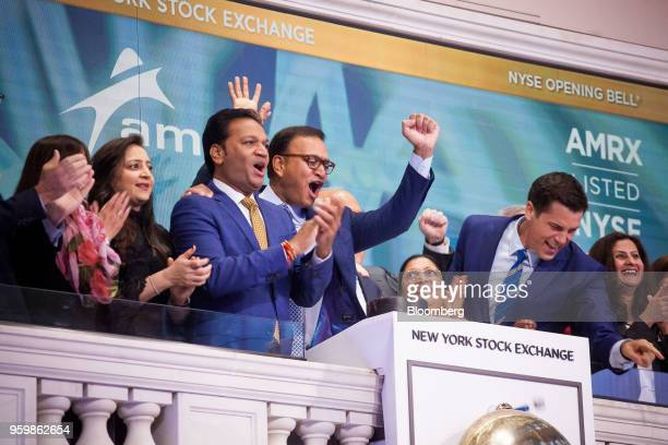 Chintu Patel cofounder and cochairman of Amneal Pharmaceuticals Inc center left and Chirag Patel cofounder and cochairman of Amneal Pharmaceuticals...