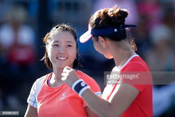 ChinWei Chan of Chinese Taipei and Kurumi Nara of Japan compete in their first round match against Vania King of the United States and Alla...
