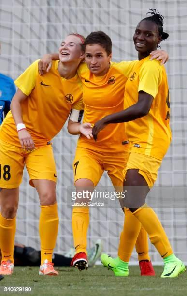 Chinwendu Ihezuo of WFC BIIKKazygurt celebrates her goal with Yulia Myasnikova of WFC BIIKKazygurt and Gulnara Gabelia of WFC BIIKKazygurt during the...