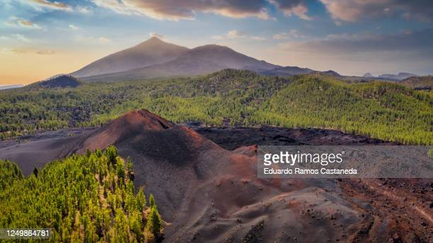 chinyero volcano with mount teide behind from a drone - pico de teide stock pictures, royalty-free photos & images