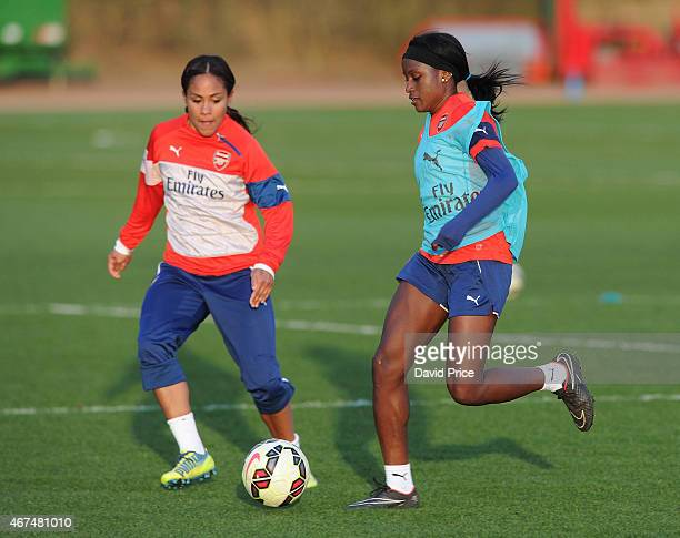 Chioma Ubogagu and Alex Scott of the Arsenal Ladies during their training session at London Colney on March 24 2015 in St Albans England