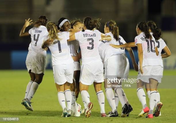 Chioma Ubogagu of the USA celebrates with teammates after scoring a goal during the FIFA U20 Women's World Cup QuarterFinal match between Korea DPR v...