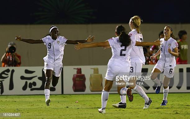 Chioma Ubogagu of USA celebrate with her team mates after she scores her team's 2nd goal during over time during the FIFA U20 Women's World Cup Japan...