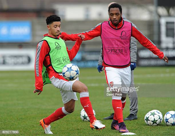 Chiori Johnson and Kaylen Hinds of Arsenal warm up before the UEFA Youth Champions League match between Arsenal and Paris Saint Germain at Meadow...