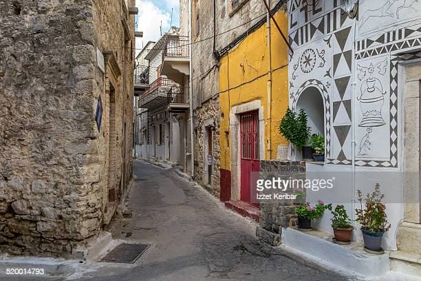 Chios Island, houses and streets of Pyrgi village
