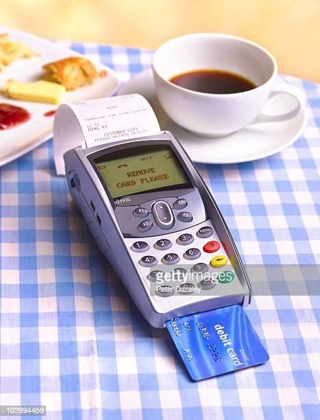 Chip and pin machine on cafe table cloth