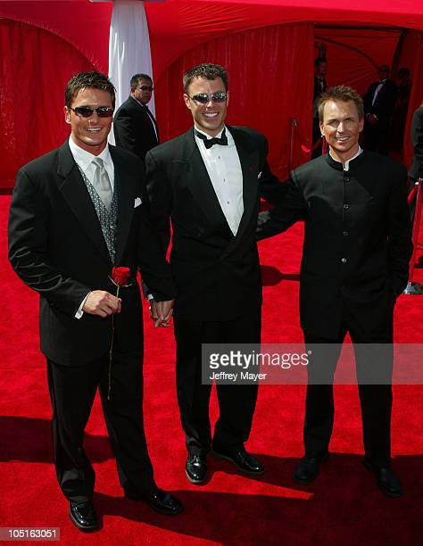 Chip Arndt Reichen Lehmkuhl Phil Keoghan during The 55th Annual Primetime Emmy Awards Arrivals at The Shrine Theater in Los Angeles California United...