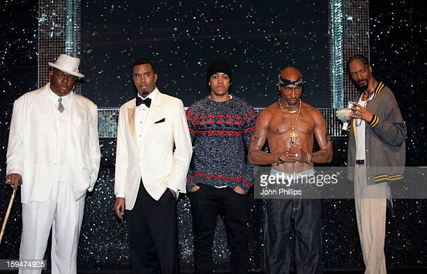 Chip attends a photocall to launch the wax figures of rap stars Biggie Smalls P Diddy Tupac Shakur and Snoop Dogg exhibited together for the first...