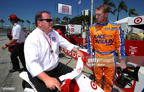 Chip Ganassi owner of Chip Ganassi Racing and Charlie Kimball driver of the Novo Nordisk Chip Ganassi Racing Dallara Honda during practice for the...