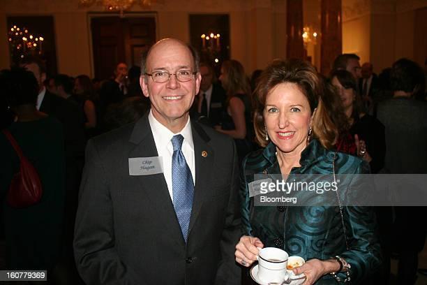 Chip Hagan a partner in the law firm Hagan Davis Mangnum Barrett Langley PLLC and Kay Hagan senator of North Carolina pose for a portrait at the...
