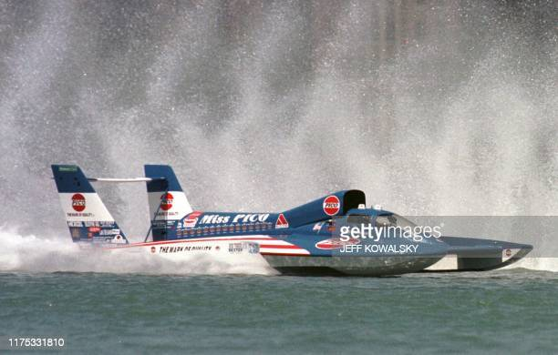 Chip Hanauer pilots the U100 Miss PICO hydroplane to win the APBA Gold Cup on the Detroit River in Detroit Michigan on 11 July 1999 This was...