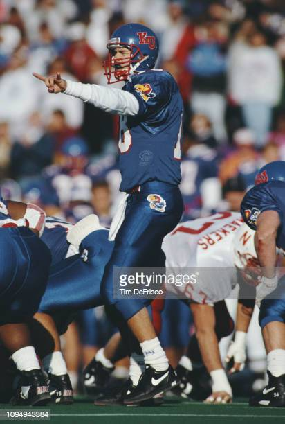 Chip Hilleary Quarterback for the University of Kansas Jayhawks calls the play at the line of scrimmage during the NCAA Big 8 Conference college...
