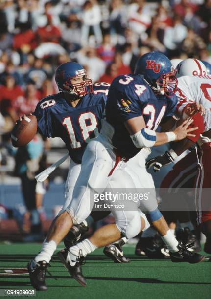 Chip Hilleary Quarterback for the University of Kansas Jayhawks during the NCAA Big 8 Conference college football game against the University of...