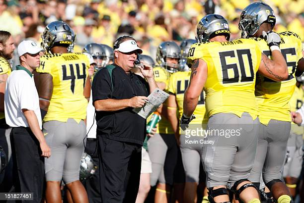 Chip Kelly head coach of the University of Oregon Ducks fans during the first half of the game against Fresno State Bulldogs at Autzen Stadium on...
