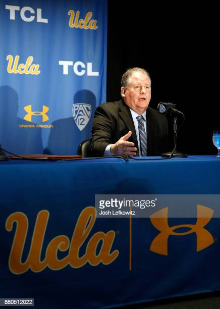 Chip Kelly speaks to the media during a press conference after being introduced as the new UCLA Football head coach on November 27, 2017 in Westwood,...