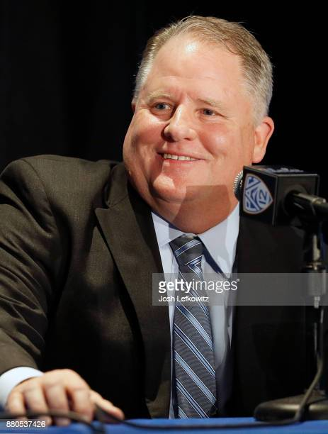 Chip Kelly speaks to the media during a press conference after being introduced as UCLA's new Football Head Coach on November 27, 2017 in Westwood,...