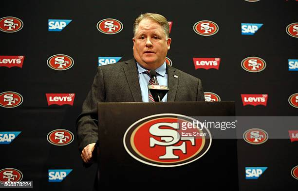 Chip Kelly speaks to the media during a press conference where he announced as the new head coach of the San Francisco 49ers at Levi's Stadium on...