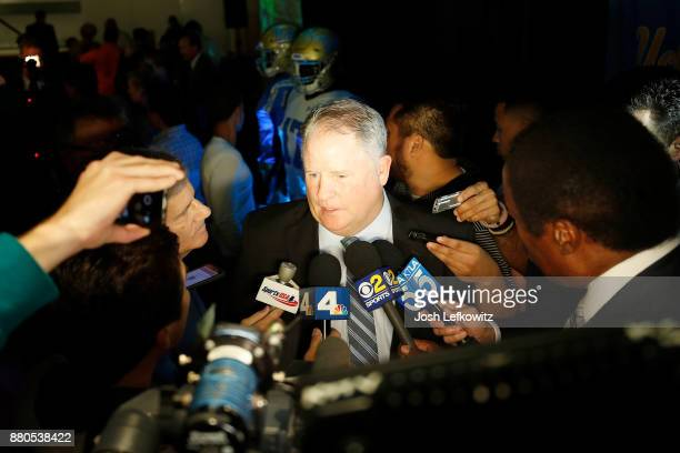 Chip Kelly speaks to the media following a press conference which introduced him as UCLA's new Football Head Coach on November 27 2017 in Westwood...