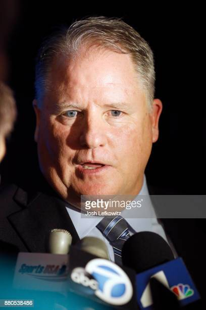 Chip Kelly speaks to the media following a press conference which introduced him as UCLA's new Football Head Coach on November 27, 2017 in Westwood,...