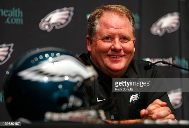 Chip Kelly talks to the media after being introduced as the new head coach of the Philadelphia Eagles during a news conference at the team's NovaCare...