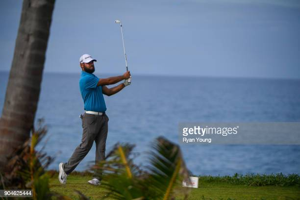 Chip Lynn plays his shot from the 14th tee during the first round of the Webcom Tour's The Bahamas Great Exuma Classic at Sandals Emerald Bay Emerald...