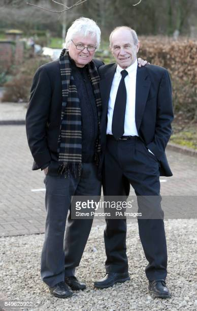 Chip Taylor and Chris Britton at the funeral of Troggs frontman Reg Presley held at Basingstoke Crematorium Hampshire Presley was the singer with the...