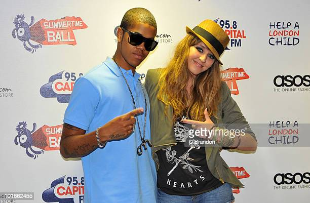 Chipmunk and Esmee Denters poses backstage at the Capital FM Summertime Ball at Wembley Stadium on June 6 2010 in London England